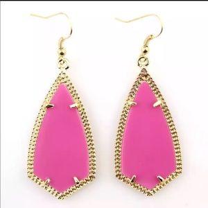 Hot Pink Geometric Gold Frame Dangle Earrings